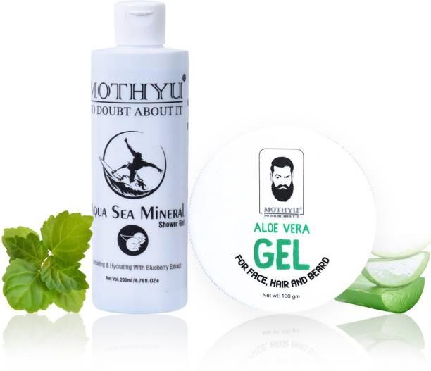 MOTHYU Aqua sea Mineral Shower Gel 200 Ml + Aloe Vera Gel For Face,Hair & Beard 100 Gm