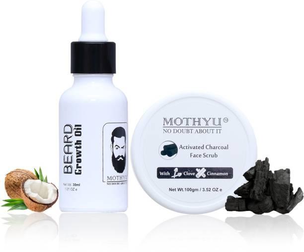 MOTHYU Beard Growth Oil 30 Ml + Activated Charcoal Face Scrub With Clove & Cinnamon 100 Gm