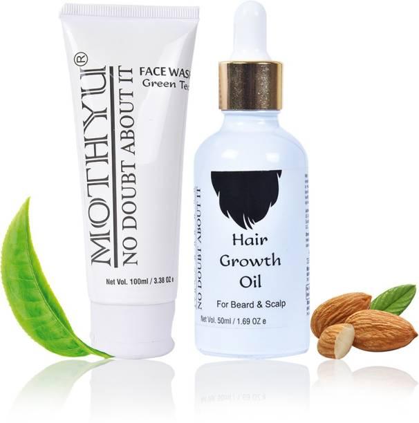 MOTHYU Green Tea Face Wash 100 Ml + Hair Growth Oil For Beard & Scalp 50 Ml
