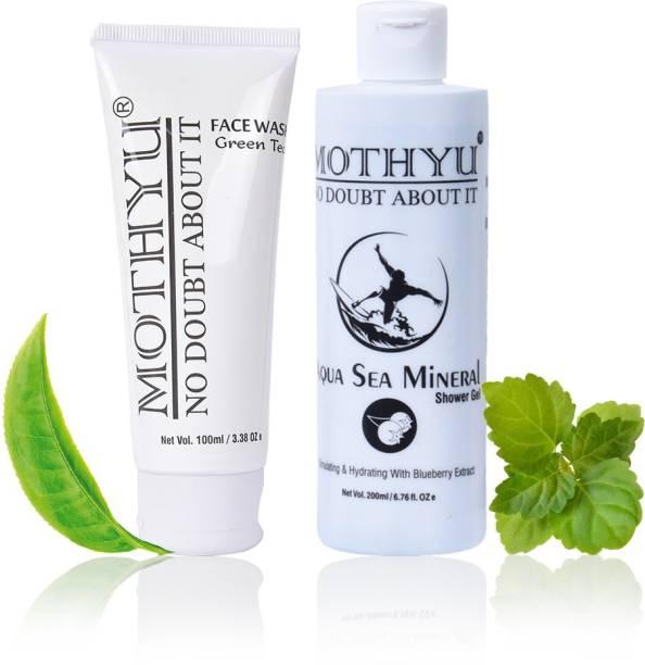 MOTHYU Green Tea Face Wash 100 Ml + Aqua sea Mineral Shower Gel 200 Ml