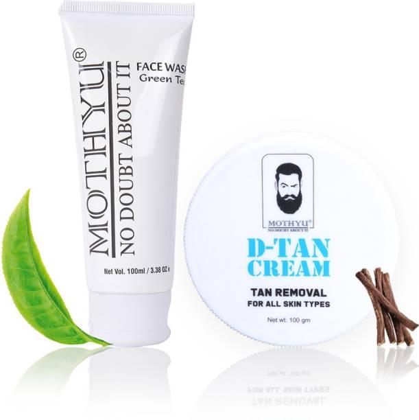 MOTHYU Green Tea Face Wash 100 Ml + D-Tan Cream Tan Removal For All Skin Types 100 Gm