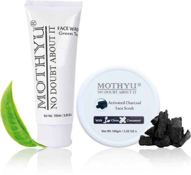 MOTHYU Green Tea Face Wash 100 Ml + Activated Charcoal Face Scrub With Clove & Cinnamon 100 Gm