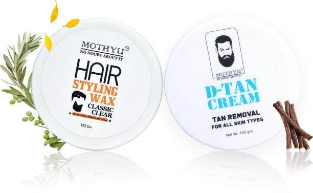 MOTHYU Hair Styling Wax 100 Gm + D-Tan Cream Tan Removal For All Skin Types 100 Gm