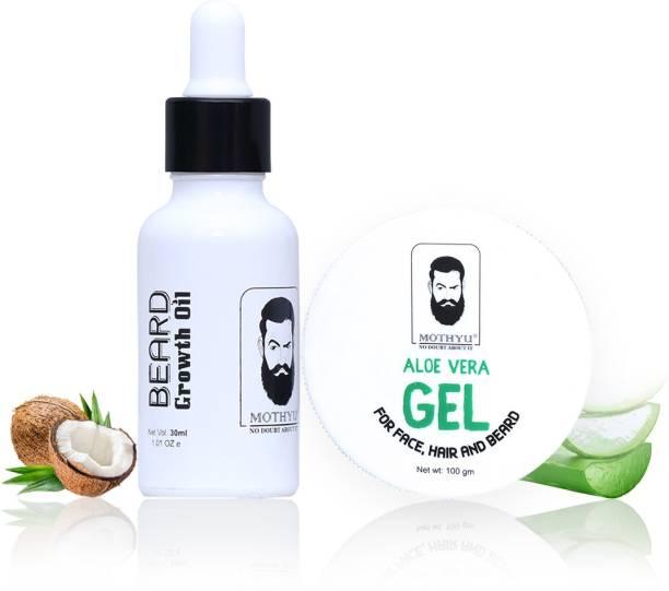 MOTHYU Beard Growth Oil 30 Ml + Aloe Vera Gel For Face,Hair & Beard 100 Gm