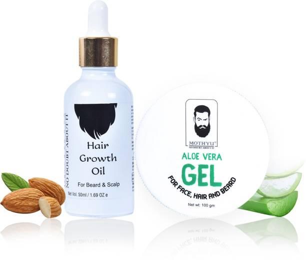 MOTHYU Hair Growth Oil For Beard & Scalp 50 Ml + Aloe Vera Gel For Face,Hair & Beard 100 Gm