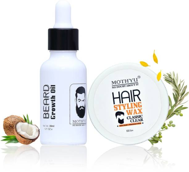 MOTHYU Beard Growth Oil 30 Ml + Hair Styling Wax 100 Gm