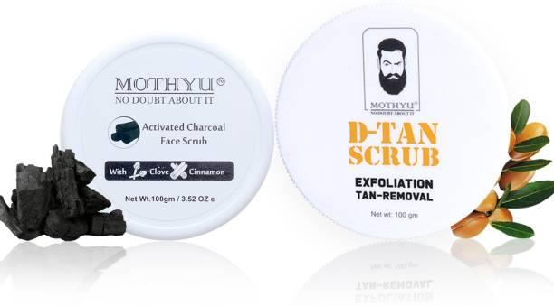 MOTHYU Activated Charcoal Face Scrub With Clove & Cinnamon 100 Gm + D-Tan Scrub Exfoliation Tan-Removal 100 Gm