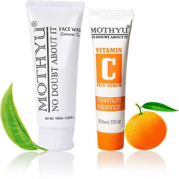 MOTHYU Green Tea Face Wash 100 Ml + Vitamin C Skin Serum 30 Gm