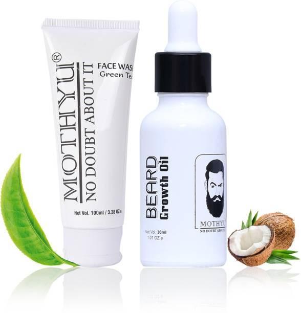 MOTHYU Green Tea Face Wash 100 Ml + Beard Growth Oil