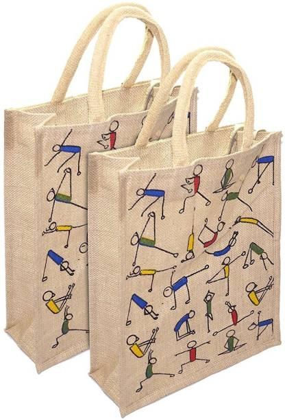 Mistazzo yoga jute bag Pack of 2 Grocery Bags