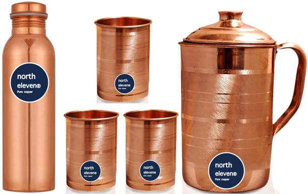NORTH ELEVEN COPPER SILVER TOUCH HANDMADE 1 JUG AND 3 GLASS WITH 1 BOTTLE SET Jug Glass Set