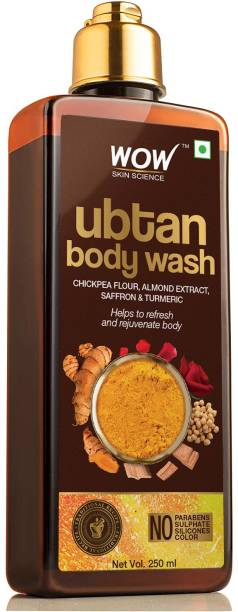 WOW SKIN SCIENCE Ubtan Body Wash With Chickpea Flour, Almond Extract, Saffron & Turmeric Extracts - Natural De Tan - No Sulphate, Parabens, Silicones & Color