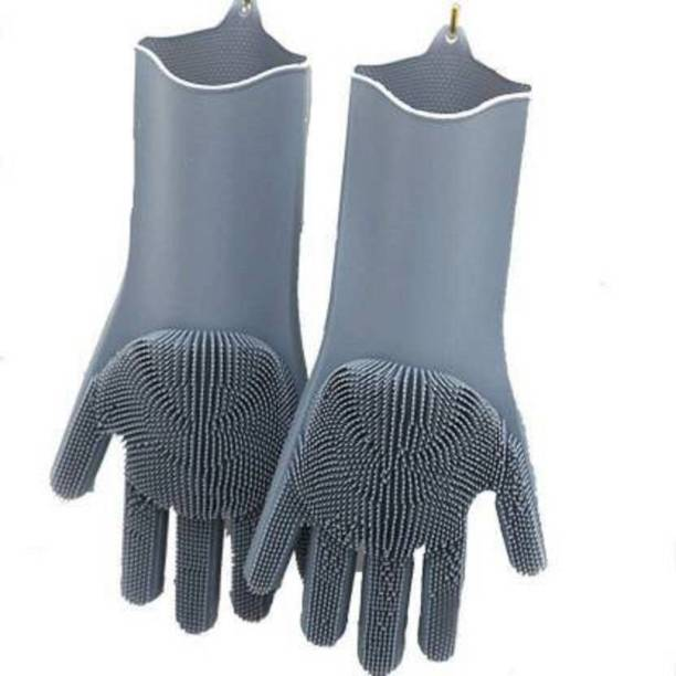 anuha High Quality Cleaning Gloves, Silicon Hand Gloves for Kitchen Dishwashing and Pet Grooming, Great for Washing Dish, Kitchen, Wet and Dry Glove Set Wet and Dry Glove