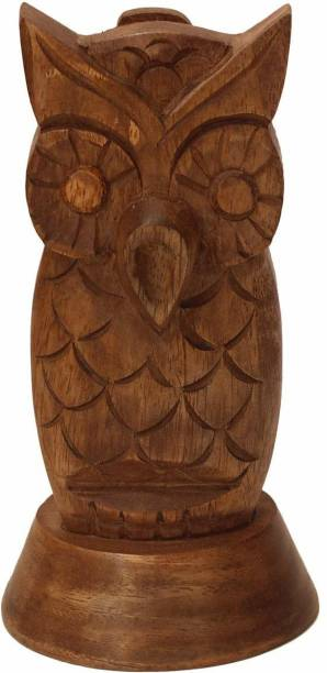 UniqueKrafts 1 Compartments Wooden Wooden Handmade Owl Shape Specs Holder Stand