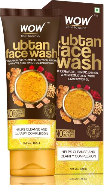 WOW SKIN SCIENCE Ubtan  with Chickpea Flour, Turmeric, Saffron, Almond Extract, Rose Water & Sandalwood Oil - No Sulphate, Parabens, Silicones & Color Face Wash