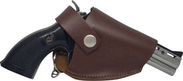 play run Revolver Design Lighter with Leather Cover Plastic Gas Lighter
