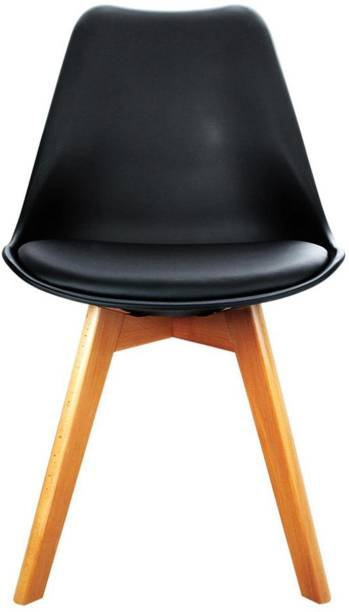 Urbancart Backrest and Padded Seat Cushion Side Chairs with Sturdy Wooden Legs for Home Kitchen, Living Room, Office, Cafeteria, Restaurant, Bar.(Black) Solid Wood Living Room Chair