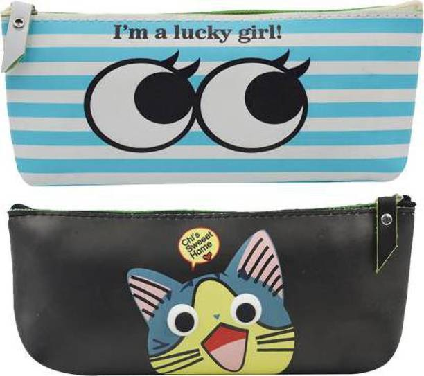 ARVANA Atractive Eye pouches for kids Pouches for school stationary item birthday return gits for kids Art Polyester Pencil Boxes