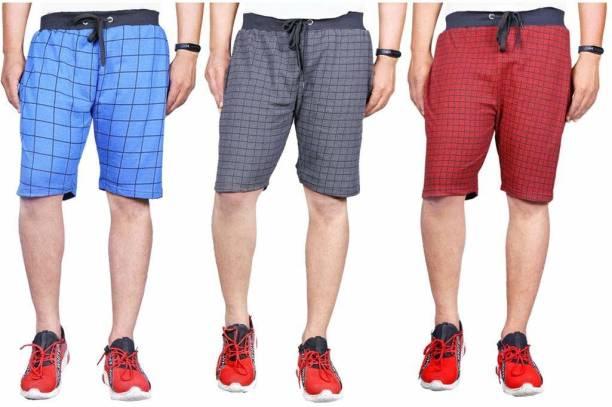 Knit Vey Checkered Men Multicolor Regular Shorts