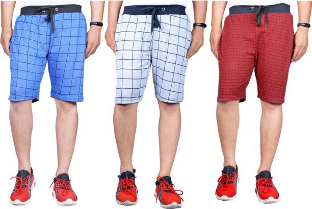 Knit Vey Checkered Men Grey, Red, Blue Regular Shorts