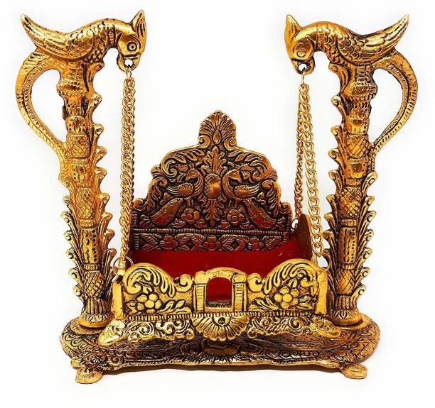KridayKraft Metal Swing Laddu Gopal Jhula,Golden Finish Jhula for Gods & Goddesses Hindola Palana ,Laddu Gopal Palna,Krishna Jhula for Temple,Pooja Room Decor Your Home,Office,Gift for Relatives On Wedding,Anniversaries,Birthday... Decorative Showpiece  -  15 cm