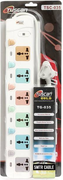 Tuscan Gold High Power 6 Switch 5 Meter Cable Extension Cord 6 Socket Surge Protector (White) 6  Socket Extension Boards