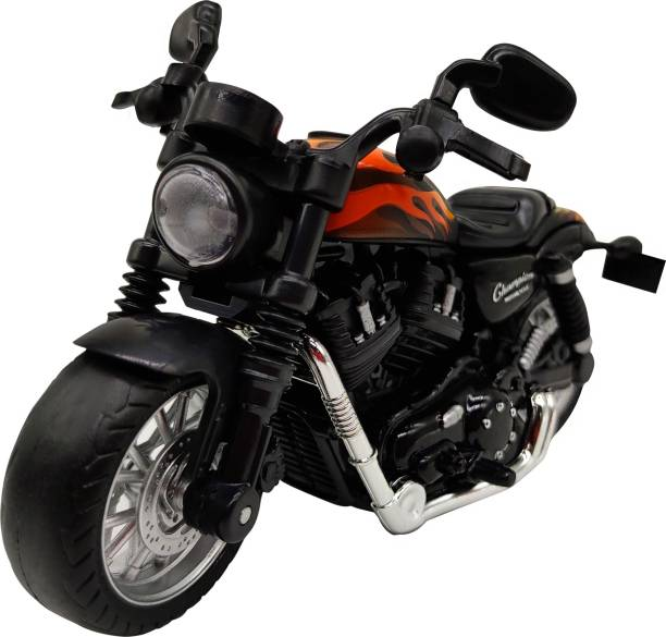 Miss & Chief 1:14 Pull Back Metal Die Cast Bike with Light and Sound Fire