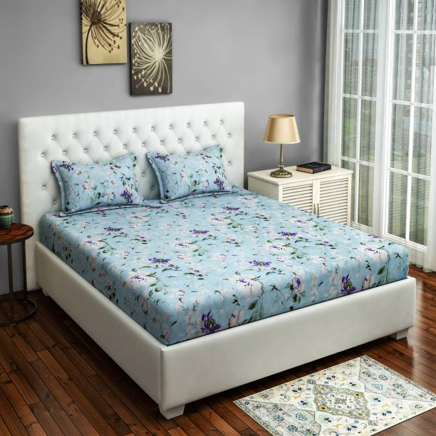 SWAYAM 144 TC Cotton Double King Floral Bedsheet