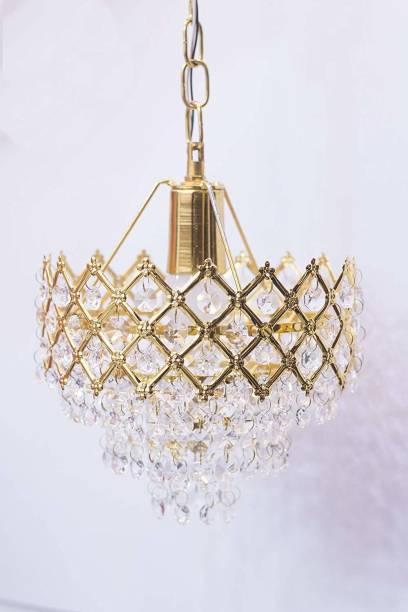 RENOY 02- Metal golden Decorative chandelier Lights Hanging Crystal Pendant Ceiling Lamp (Golden)(PACK OF 1 WITHOUT BULB) Chandelier Ceiling Lamp