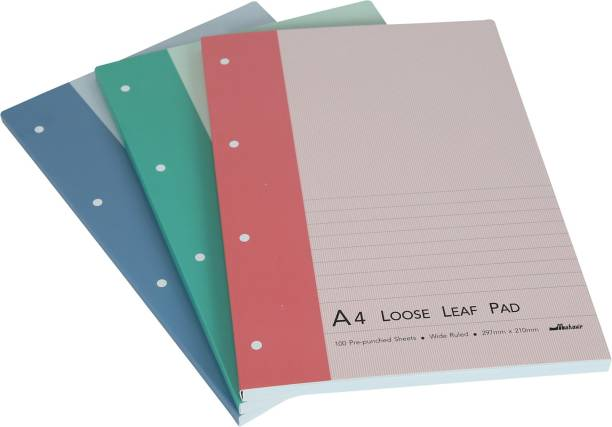 Mahavir Loose Leaf Report Pad - A4 Size - Perforated Pre Punched Pad - Pack of 3 - (Blue + Green + Pink) A4 Note Pad Ruled 200 Pages