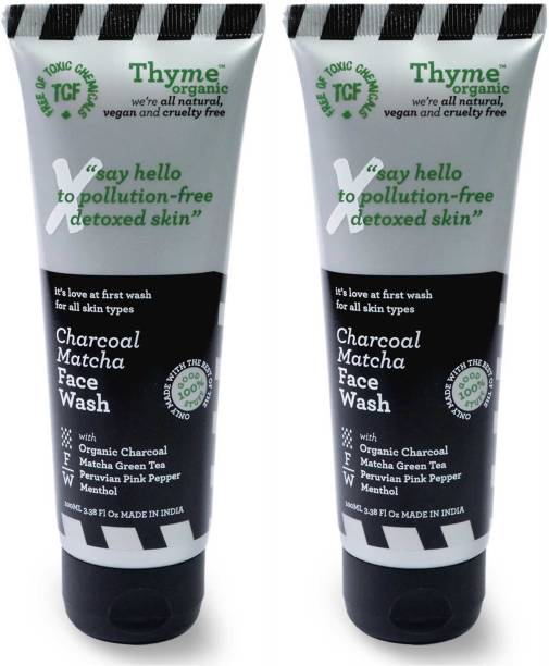 Thyme Organic Charcoal Matcha - with Organic Activated Bamboo Charcoal - Toxic Chemical Free Face Wash