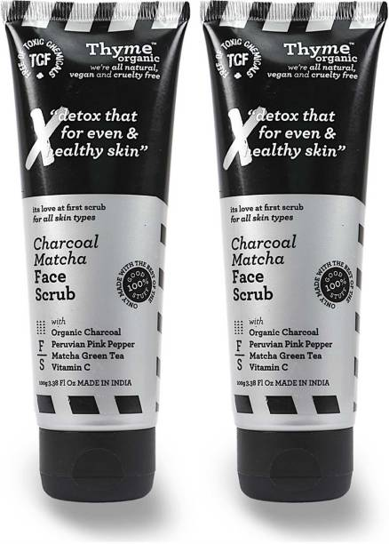 Thyme Organic Charcoal Matcha Face Scrub - with Organic Activated Bamboo Charcoal - Toxic Chemical Free Face Wash
