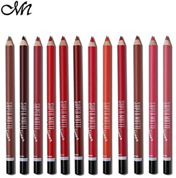 Miss Hot Menow SUPER MATTE LIP LINER( Set of 12 Creamy Lip Liner Pencils