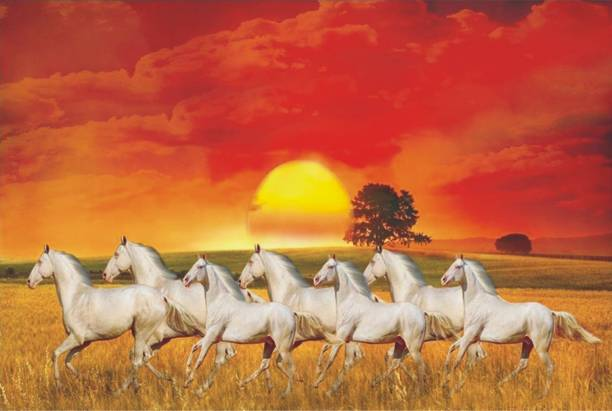 Lucky Seven Horses Running Wall Poster | White Horses Poster | Wall Décor | Poster for Room/Office/Work Place| High Resolution 300 GSM Poster Paper Print