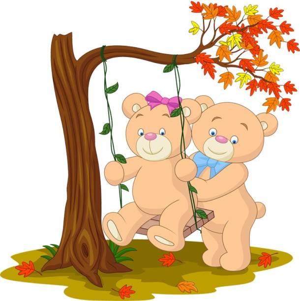 god & god's Medium Two bears on the swing Sticker