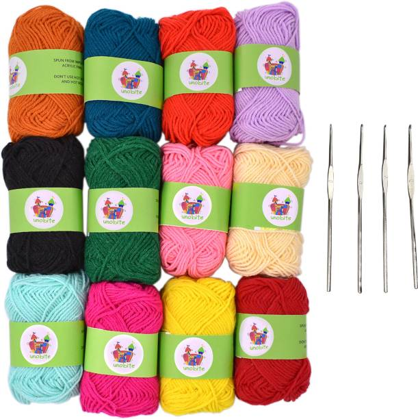 Unobite 12 Piece Wool Ball Hand Knitting Yarn, Crochet Hook Yarn, Art & Craft Multi Color with 4 Stainless Steel Knitting Needle