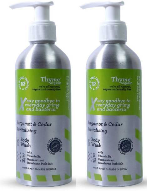 Thyme Organic Bergamot & Cedar Revitalizing Body Wash with Vitamin B5- Toxic Chemical Free Face Wash