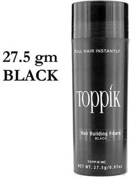 toppik Hair Building Concealer Fibers Black 27.5 gm Hair Building Concealer Fibers Black 27.5 gm Holds till it is washed off the hair. Hair Volumizer Powder Type