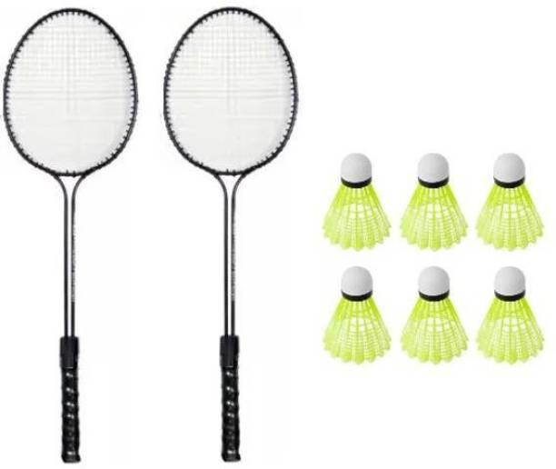 Monika Sports 2 Double Shaft Racquet with 6 pc Nylon Shuttle Badminton Kit