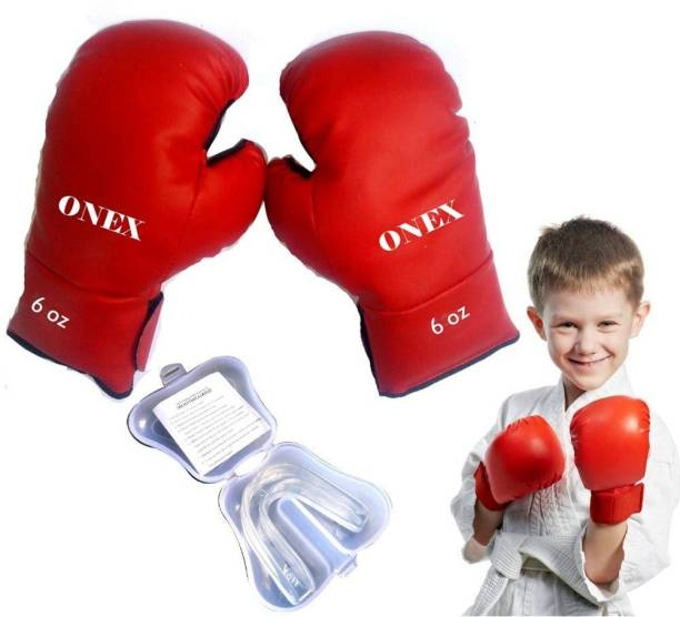 ONEX Boxing Glove for Boys/Girls Best Punching Bag Gloves And Mouth Guard (Size: 4 OZ) Boxing Kit