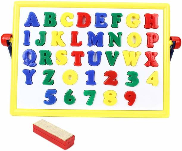 BKDT Marketing 2 in 1 Magnetic Alphanumeric Board with Magnetic 26 Alphabets, 10 Numbers, Chawk and duster