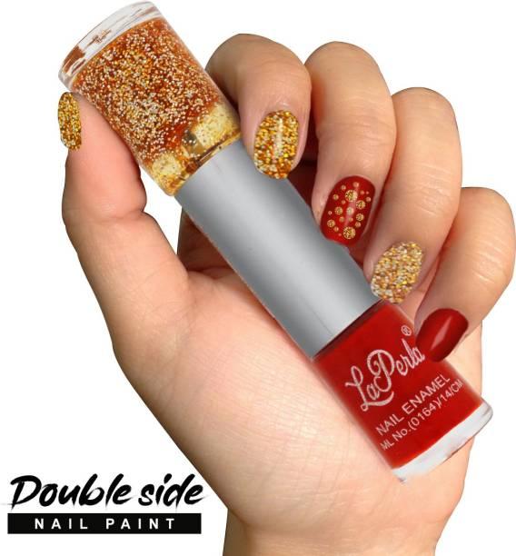 La Perla 2 in 1 Red Color Matte Finish and Glitter Nailpaint (112-134) Red, Golden