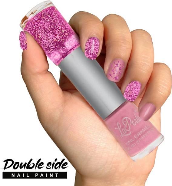 La Perla 2 in 1 Matte Finish and Glitter Nailpaint (110-111) Pink, Baby Pink