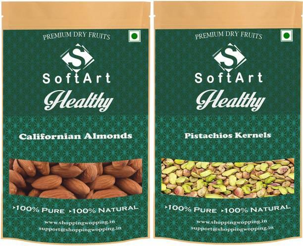Soft Art Healthy Californian Badam Pista (250g Each) Almonds, Pistachios