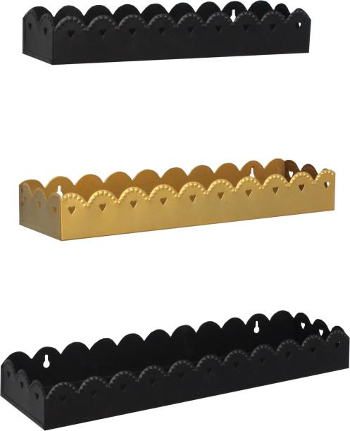 HOME SPARKLE Home Sparkle Iron wall Rack (Set of 3), Black & Gold Iron Wall Shelf