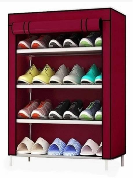 Sasimo 1-Door 4-Shelf Fabric Metal Collapsible Shoe Stand