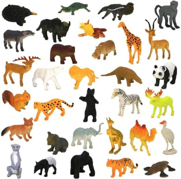 Nabhya Zoo Wild Animals Figures Set for Kids - Pack of 20 Animals