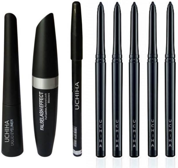 Uchiha Liquid Eyeliner, Eyebrow Pencil Mascara With Set Of 4 Kajal