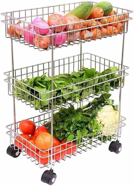 HUMBLE KART 3 Layer Fruits & Vegetable Trolley Stainless Steel Kitchen Trolley