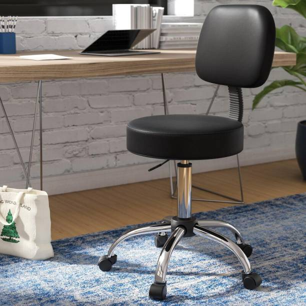 Finch Fox Medical Office Stool Chair/Doctor's & Back Cushion, PU Leather (Black) Leatherette Office Executive Chair